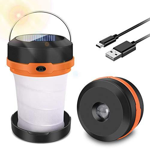 SYOSIN Campinglampe LED Faltbare Laterne, Wiederaufladbar über Solar und USB, Dimmbare 3 Mode Licht Faltbare Camping Außenleuchte für Wandern, Camping, Notfall, Angeln, Nachtlicht