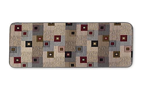 HomeLife Tappeto Cucina Antiscivolo Lavabile Lungo 55X190 Made in Italy | Passatoia Moderna in Ciniglia con Fantasia Colorata a Quadri | Tappeto Runner Lungo Colorato [55X190, Marrone]
