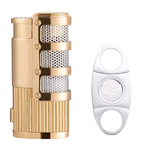 Cigar Cutter and Lighter Set, Cigar Punch Lighter Triple Jet Flame Butane Cigarette Torch Lighter (Gold)