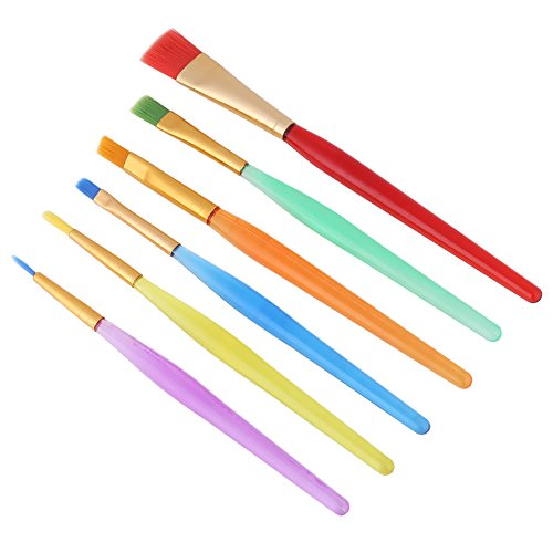 6pcs/Set Colorful Nylon Hair Painting Brush Watercolor Paintbrush Artist Paint Brushes for Children Art Supplies
