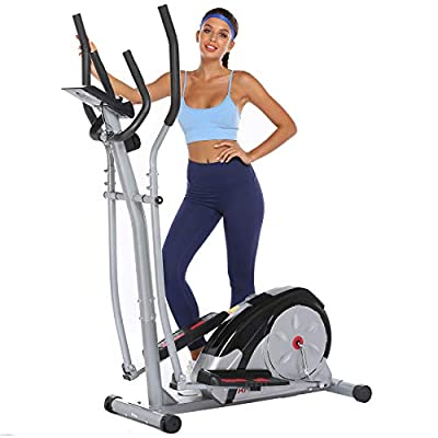 ncient Elliptical Machine Eliptical Exercise Machine for Home Use Elliptical Trainer Indoor Workout Fitness Machine Magnetic Smooth Quiet Driven Pulse Rate Grips (Grey)