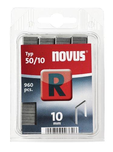 Novus Flachdrahtklammern 10 mm, 960 Tacker-Klammern, Typ 50/10, zur Befestigung von Folien, Etiketten, Papier und Pappe