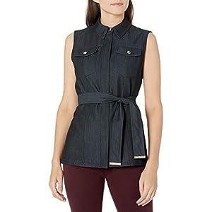 Calvin Klein Damen Denim Tie Waist Vest Anzugjacke, Business-Stil