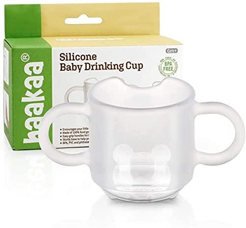 Haakaa Vasos de Entrenamiento con Asas , Taza de Aprendizaje de Silicona para Niños Pequeños , sin BPA 150 ml, Color Transparente