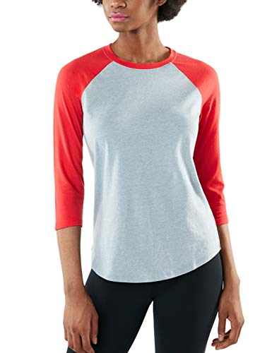 TSLA Damen 3/4 Arm T-Shirt, dynamisches Raglan T-Shirts aus Baumwolle, leichte Outdoor Performance Baseball T-Shirts, Fts32 1pack - Oxfordgrey & Red, XL