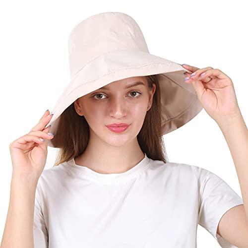Y-home Sonnenschutz Sonnenhut Damen mit uv Schutz 50+UPF,Faltbar Sommerhut Breite Krempe,Großer Kopf Sonnenmütze for Strandhut Garten