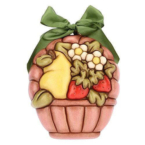 THUN ® - Formella Media a Forma di Cesto con Fiori e Frutta - Ceramica -15,5 x 13,2 cm - Linea I Classici