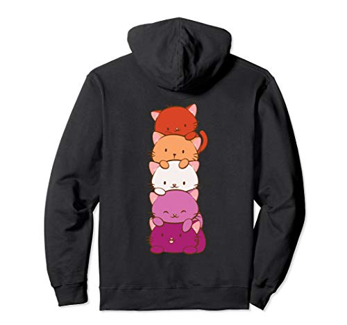 Orange Pink Lesbian Pride Flag Cute Kawaii Cat Pullover Hoodie