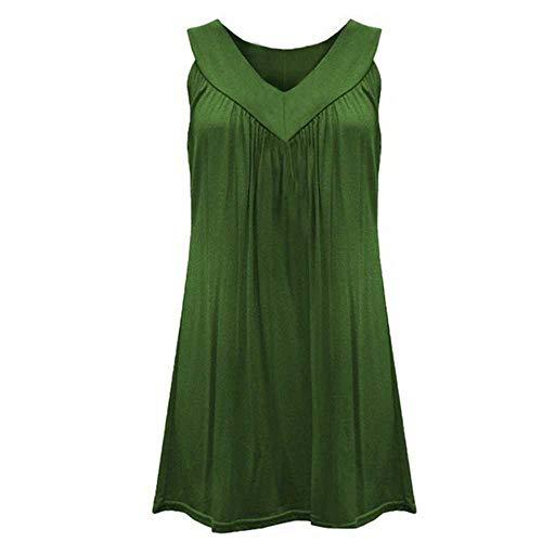 Dress Fashion Women Sexy Summer Sleeve Head Sleeveless Pure Color Beach Mini Fold Tops Blouses Solid Women Dress Green