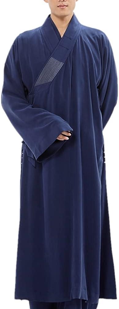 QieZi Men Traditional Oblique Placket Summer Long Gown Blue