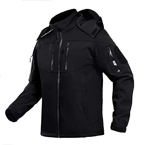 TACVASEN Outdoor Jacket for Men Water Resistant Climbing Tactical Jacket with Hooded Black XL