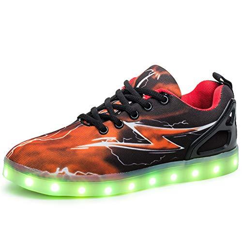 Kimily-UK Unisex Kinder LED Schuhe 7 Farbe USB Aufladen LED Leuchtend Outdoor Sportschuhe Low Top Atmungsaktives Ultraleicht Wasserdicht Laufschuhe Gymnastik Turnschuhe Blinken Sneaker Für Paar 26-46