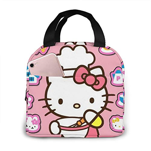 Suzzc Best Cute Hello Kitty Reusable Insulated Lunch Bag Cooler Tote Box With Front Pocket Zipper Closure For Woman Man Work Picnic/Boating/Beach/Fishing