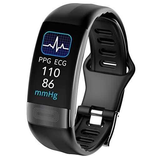 ECG + PPG Smart Watch, attività di Fitness Tracker con frequenza cardiaca Monitor Pressione sanguigna Blood Ossigeno Temperatura del Corpo Temperatura della modalità di Sospensione Pedometro,Nero