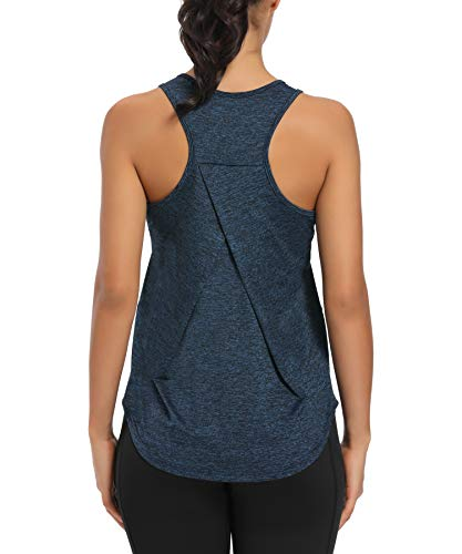 HLXFHB Workout Tank Tops for Women Gym Exercise Athletic Yoga Tops Racerback Sports Shirts (Violet Blue, Large)