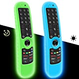 2 Pack Silicone Protective Case for LG AN-MR21GC Magic Remote Control 2021 [Anti-Slip] Shockproof Protector Cover for LG MR21GA Remote Case Sleeve Holder Skin-Glow Blue, Glow Green