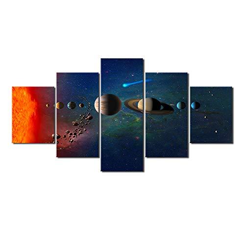 5 Panel Ruimte Maan Poster Zijden Doek Canvas Schilderij Kunst aan de Muur Woonkamer Decoratie Zonder Lijst