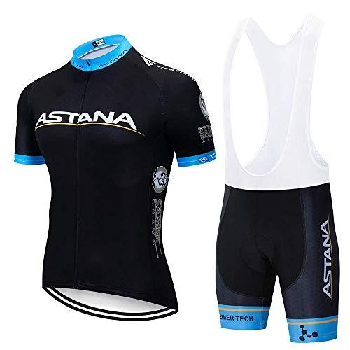 BikeTopb fietsshirt voor heren, korte mouwen, zomerkleding, fietskleding met korte shorts met gelbekleding