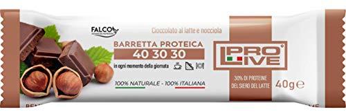 PROLIVE 40 30 30 LATTE E NOCCIOLA – Barrette Proteiche a zona 40 30 30, Senza Zuccheri Aggiunti, Croccante, Puro Cioccolato al Latte, 30% Proteine Del Siero del Latte (Whey Protein)(12x40g)