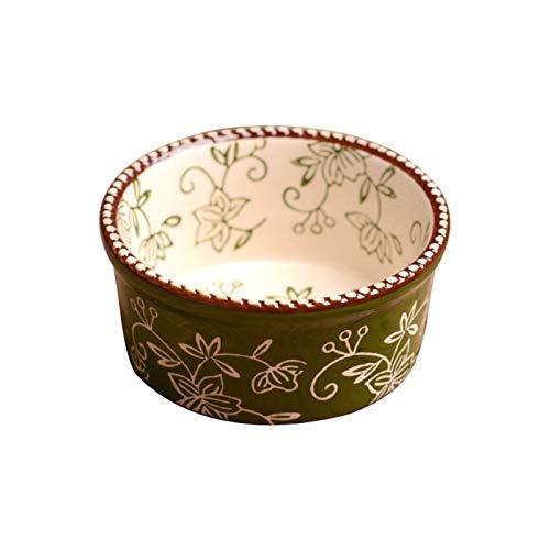 H/A Cubiertos creativos de cerámica florales pintados a mano vajilla bandeja cerámica hogar arroz tazón TOM-EU (color: verde, tamaño: 10 x 5 cm)