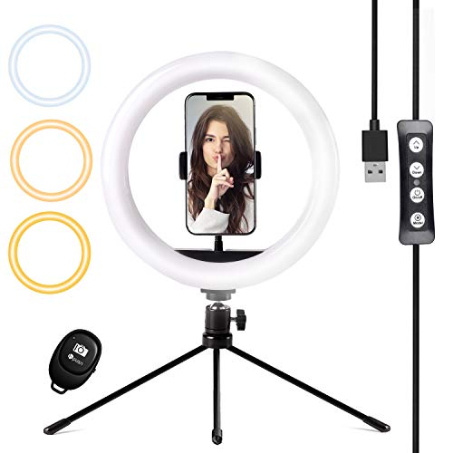 "HPUSN 10"" Desktop Selfie Ring Light with Tripod Stand & Phone Holder, Dimmable Desk LED Makeup Ring Light for Photography, Shooting with 3 Light Modes,Compatible with iPhone & Android"