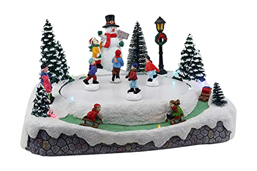 Christmas Village Skating Pond Animated Lighted Musical Snow Village Perfect Addition to Your Christmas Indoor Decorations & Holiday Displays