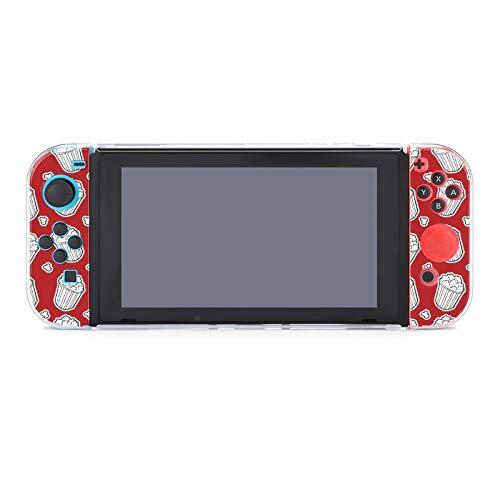 Funda protectora de PC antiarañazos para Nintendo Switch compatible con interruptores y controladores Joy-Con Split 5 piezas Soft Game Console Case - Patrón de palomitas
