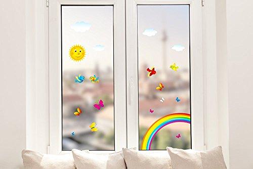 Pixblick Fenstersticker - Regenbogen mit Vögeln, Schmetterlingen und einer Sonne fürs Kinderzimmer