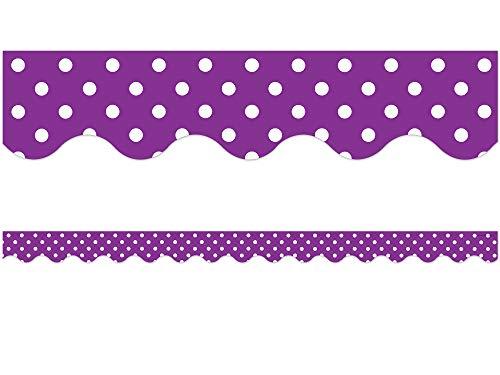 Teacher Created Resources Purple Polka Dots Scalloped Border Trim