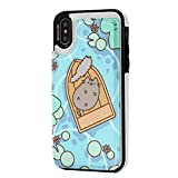 Pusheen The Cat iPhone X/XS Wallet Case, iPhone X/XS Case, Raised Screen Protector, PU Leather Case with Card Slots, Double Magnetic Clasp and Durable Shockproof Cover for iPhone X/XS