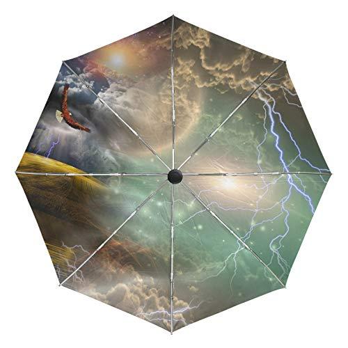 Paraguas de Viaje pequeño a Prueba de Viento al Aire Libre Lluvia Sol UV Auto Compacto 3 Pliegues Cubierta de Paraguas - águila en Cielo Estrellado Vivo