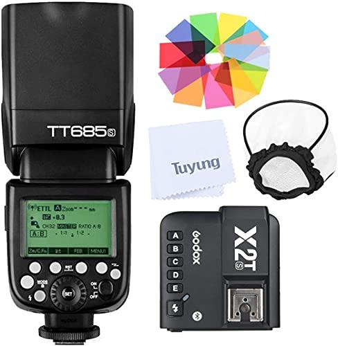 Godox TT685S TTL GN60 2.4GHz Wireless HSS 1/8000s Flash Speedlite with X2T-S Wireless Flash Trigger Transmitter Compatible for Sony DSLR Cameras (TTL autoflash)