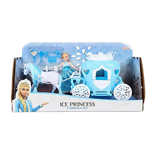 Toi-Toys 12879A Ice Princess - Gioco di gelato Principessa a cavallo con carriatura e bambola, colore: blu Licenza