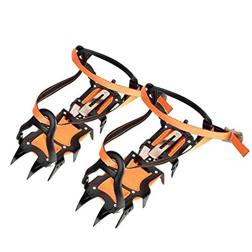 Garra de 12 dientes, tracción, cubierta de zapato antideslizante, crampones, nieve y hielo, agarre, puntas de skate, escalada, senderismo, senderismo, invierno, acero al manganeso-12 espárragos