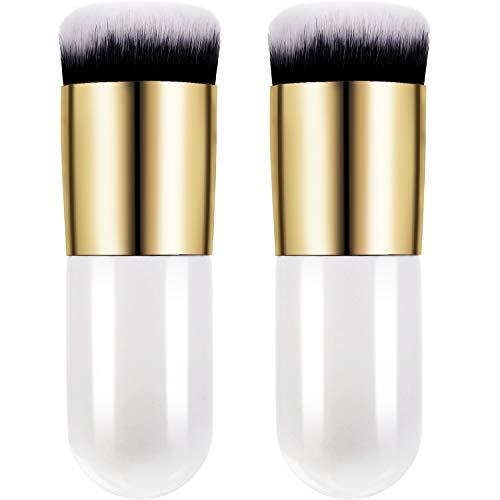2 Pieces Foundation Brush Chubby Makeup Brush Kabuki Makeup Brush Travel Powder Brush for Blending Liquid, Cream or Flawless Powder Cosmetics (white)
