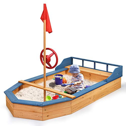 Costzon Pirate Boat Wood Sandbox for Kids, Wooden Pirate Sandboat Covered Sandboxes w/Bench Seat, Flag, Storage Space, Non-Woven Fabric Cloth, Children Outdoor Playset for Backyard, Home, Lawn, Garden