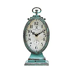 NIKKY HOME Vintage Table Clock - Battery Operated Rustic Distressed Style - Shabby Chic Home Decor for Fireplace Mantel, Shelf, Desktop, Countertop - Green