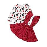Yesmile Vestidos Infantiles Faldas sobre el Tema de San Valentín Niñas Tops del Estilo Lunares + Falda Roja para Bautizo Fiesta Bebé 2-8 Años