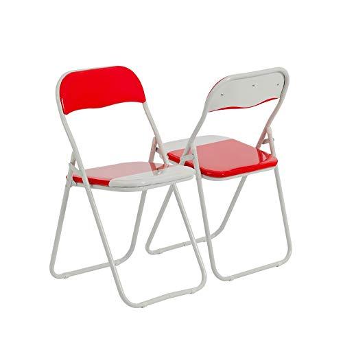 Klappstuhl - gepolstert - Rot/Weiß - 2 Stück
