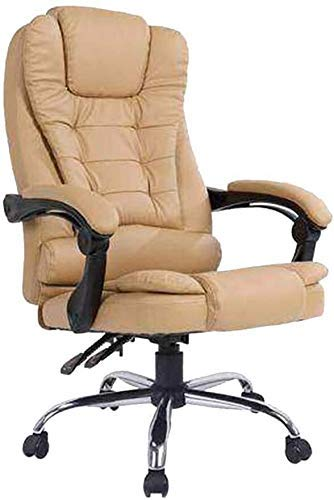 XBSXP Computer Chair Leather Office Chair Height Adjustable Executive and Ergonomic Swivel Chair Double Cushion High Back Boss Chair for Study Office (Color : Khaki)