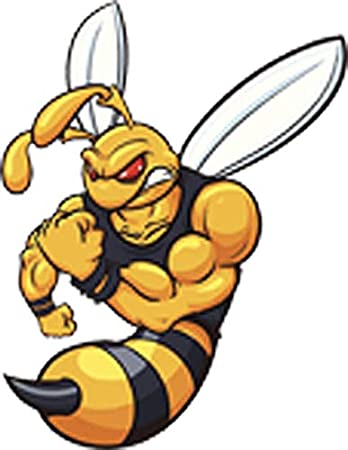 Amazon Com Angry Buff Killer Bee Cartoon Vinyl Decal Sticker 8 Tall Arts Crafts Sewing