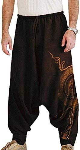 Hombre Pantalones Harem Cómoda Cintura Elástica Pantalones Moda Color Sólido Casuales Yoga Hippies Pantalones (Negro, M)