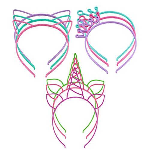 Lurrose, cerchietti per capelli a forma di unicorno, 9 pezzi, in plastica, con orecchie di gatto, cerchietti per capelli, cerchietti, accessori per capelli per matrimoni, Natale, regali (multicolore)