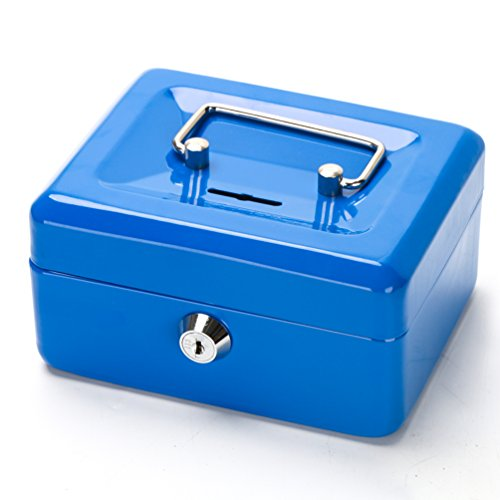 """Cash Box with Slot for Kids, Decaller Small Money Box with Money Tray & Key Lock, 6 1/5"""" x 5"""" x 3"""", Blue, QH1507XS"""