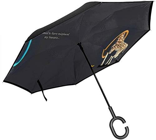 Double Layer Inverted Umbrella, Portal Humor Lustige Giraffen Winddicht Taschenschirm Self Stand Upside-Down Regenschutz Car Reverse Umbrellas