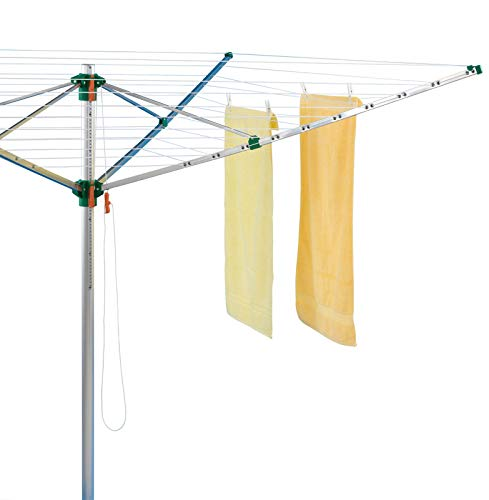 Juwel Wäschespinne Comfort Plus 600 (für 5-6 Wäscheladungen, höhenverstellbar 140-175 cm, inkl. Schutzhülle, Kleiderbügelhalter, mit Eindreh-Bodenhülse) 30239