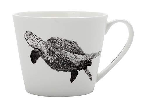 Maxwell & Williams DX0225 Marini Ferlazzo Becher Sea Turtle, aus Bone China Porzellan, Schwarz, Weiß, 450 ml, in Geschenkbox