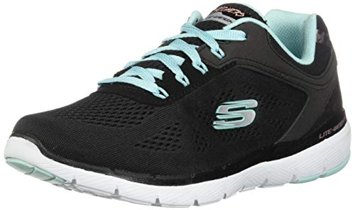 Skechers Damen Flex Appeal 3.0 - Moving Fast Sneaker, Schwarz (Black Engineered Mesh/Duraleather/Turquoise Trim Bktq), 39 EU