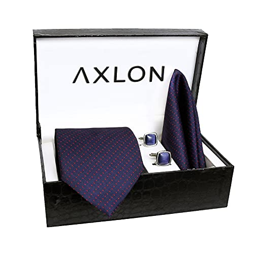 Axlon Men's Polyester Necktie Set with Pocket Square, Brooch Pin and Cufflinks (Free Size)