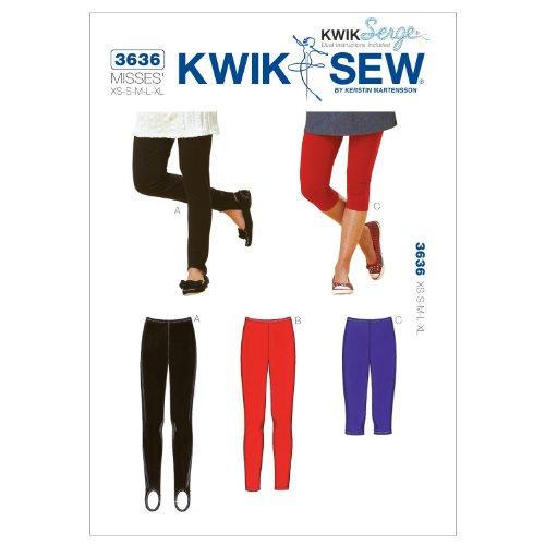 Kwik Sew Patroon K3636 – klein – medium – groot – extra grote leggings maat XS, wit, 1 stuk